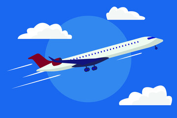 The plane is flying. Plane in the sky among the clouds. Vector illustration of an airplane.