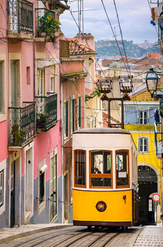 Historic yellow funicular in Lisbon, Portugal