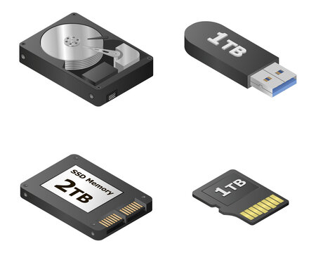HDD set. Black isometric new square solid state drives.