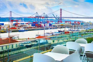 Lisbon port, restaurant terrace, bridge