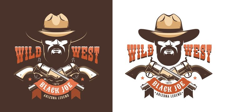 Western cowboy emblem. Bearded wild west ranger with pistols. vector illustration.