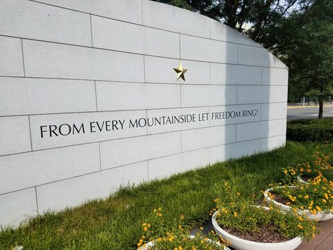 let freedom ring on wall with yellow flowers
