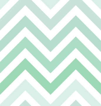 Seamless chevron pattern, Vector zigzag gradient, mint green color