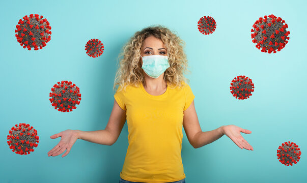 Blonde girl has doubt about covid19 corona virus. Cyan background