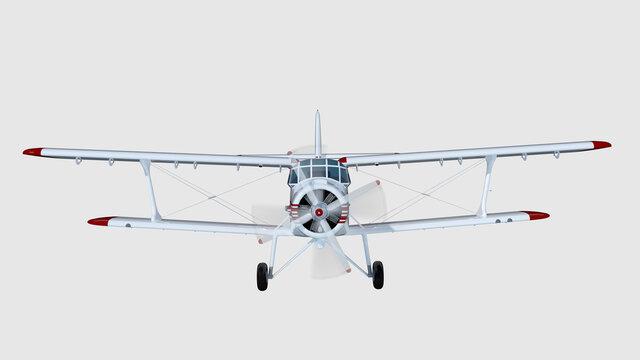old retro bi plane isolate on white. 3d rendering