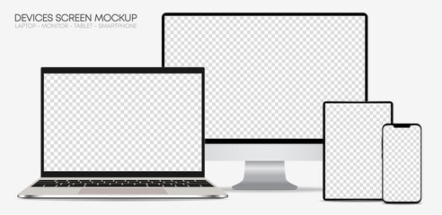 Set of devices on white background. Computer laptop tablet and smartphone with empty screens – Silver Mock up – Vector, EPS 10, illustartion