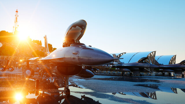 f 16 military fighter jet. military base. sunset. 3d rendering.