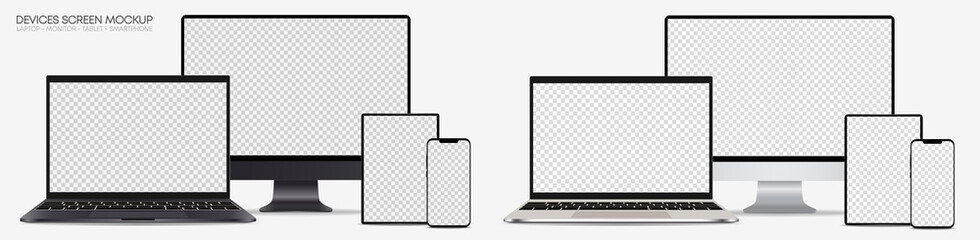 Full collection of realistic computer monitors, laptops, tablets and mobile phones - Set electronic gadgets isolated on white background – Silver and dark grey vector