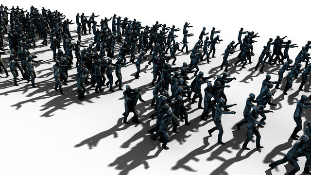 A large crowd of zombies. Apocalypse, halloween concept. isolate on white. 3d rendering.
