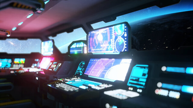 space ship futuristic interior. Cabine view. Galactic travel concept. 3d rendering.