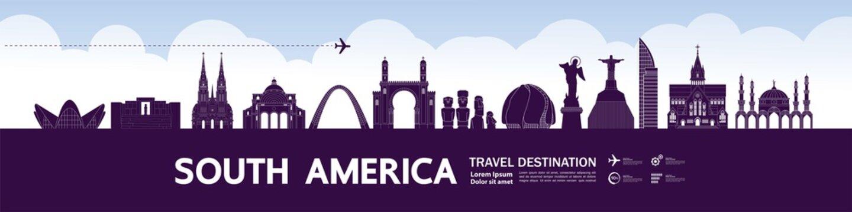 South America travel destination grand vector illustration.