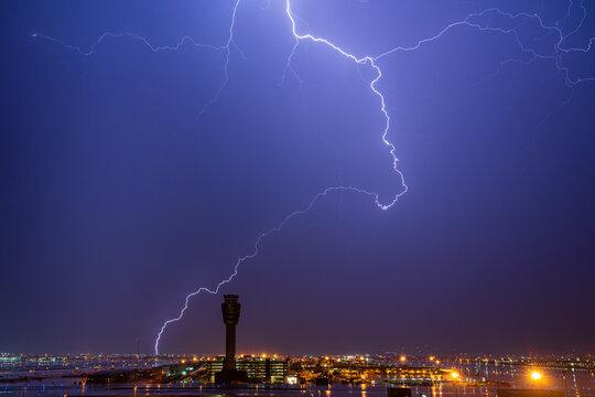 Lightning strike over airport