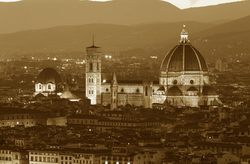 Fototapete - Basilica of Santa Maria del Fiore (Basilica of Saint Mary of the Flower) in Florence, Tuscany, Italy