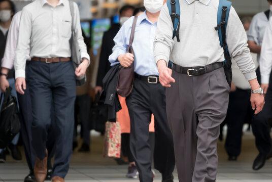 東京 マスクを付けた通勤風景 品川駅 2020年5月26日