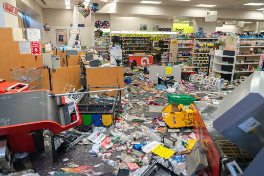 CHICAGO, ILLINOIS - MAY 31, 2019: CVS Pharmacy store interior destroyed by the protesters after nights of riots, looting and chaos in Downtown Chicago