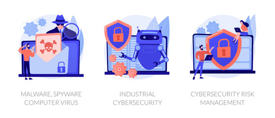 Antivirus software development. Malware, computer virus and spyware, industrial cybersecurity, cybersecurity risk management metaphors. Vector isolated concept metaphor illustrations - fototapety na wymiar