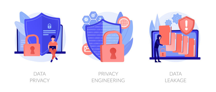 Database security software development. ID theft, hacking crime, computer malware. Data protection, information privacy, data stealing metaphors. Vector isolated concept metaphor illustrations