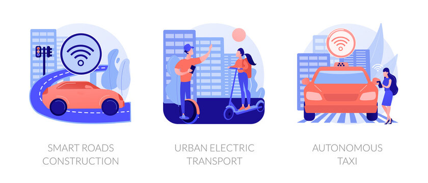 IoT city technology, transport infrastructure connections. Smart roads construction, urban electric transport, autonomous taxi metaphors. Vector isolated concept metaphor illustrations.