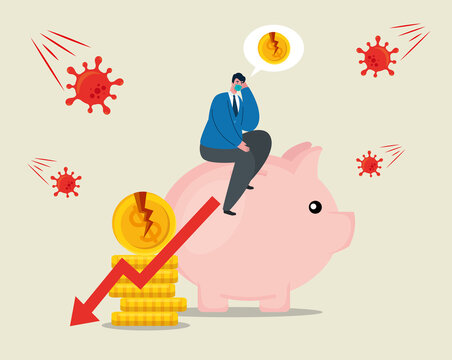 businessman with mask piggy and broken coins design of bankruptcy and covid 19 virus theme Vector illustration