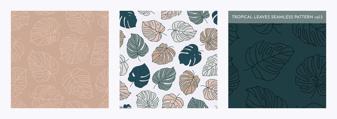 Set of Tropical Monstera Leaves Seamless Pattern. Vector floral background in a trendy minimalistic linear style