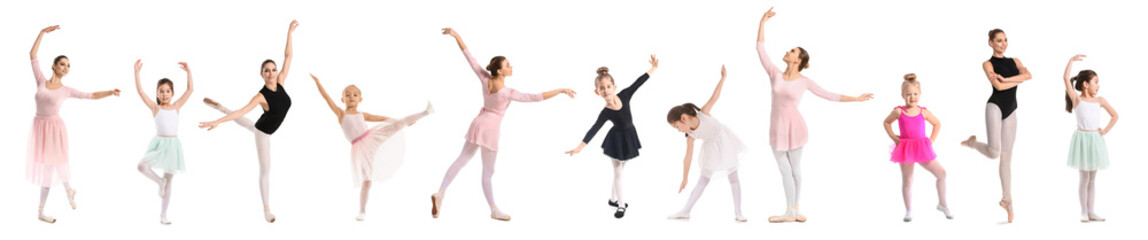 Set of beautiful ballerinas on white background