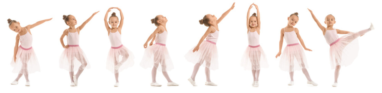Cute little ballerina on white background