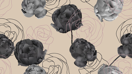 Floral seamless pattern, black roses on bright brown
