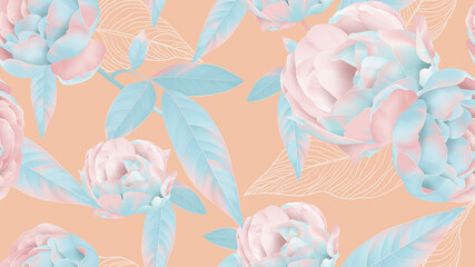 Floral seamless pattern, pastel roses on bright orange
