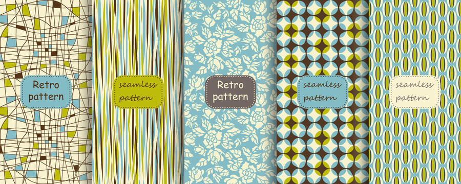Set of Retro seamless patterns from the 50s and 60s. Seamless abstract Vintage background in sixties style. Abstract geometric and floral patterns. Vector