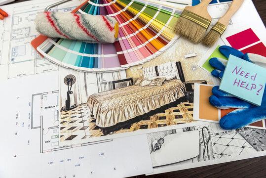 Palette of colors designs for interior works on blueprints brush, sticker