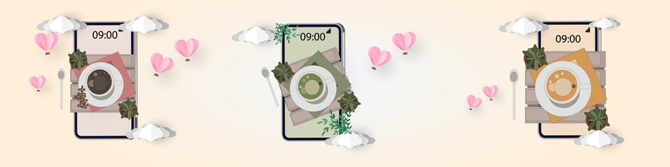 top view coffee cup green tea and milk tea on wood table backgroud and props Coffee beans plant colorful vector illustration