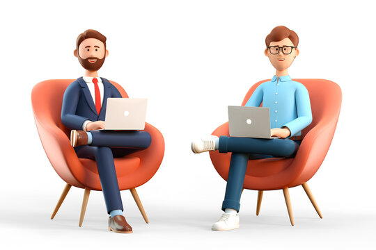 3D illustration of startup concept and business teamwork. Two happy men with laptops sitting in armchairs. Cartoon businessmen working in office and using social networks.