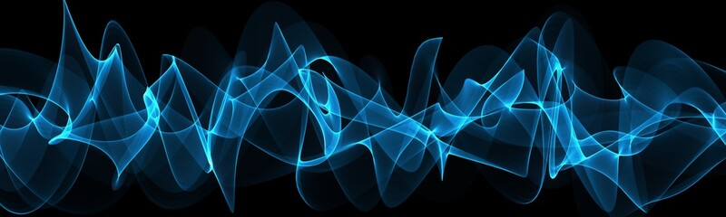 Keuken foto achterwand Fractal waves Blue abstraction with waves. Modern panoramic background