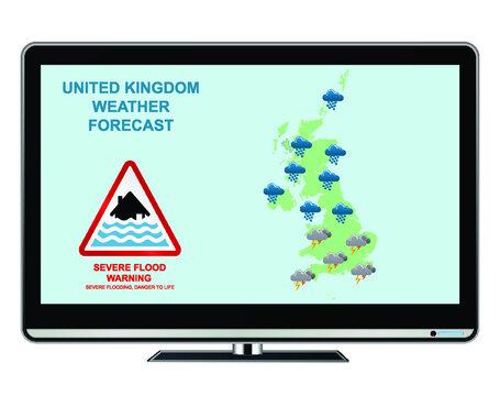 United Kingdom severe flood warning weather forecast with danger to life isolated on white background