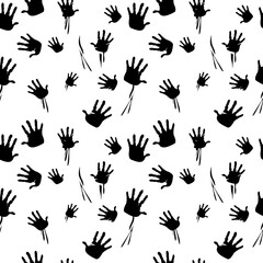 Seamless pattern created by a lot of handprints