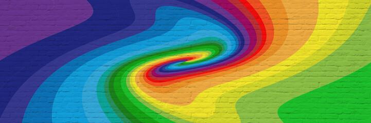 Printed kitchen splashbacks Spiral Mur de briques avec spirale multicolore