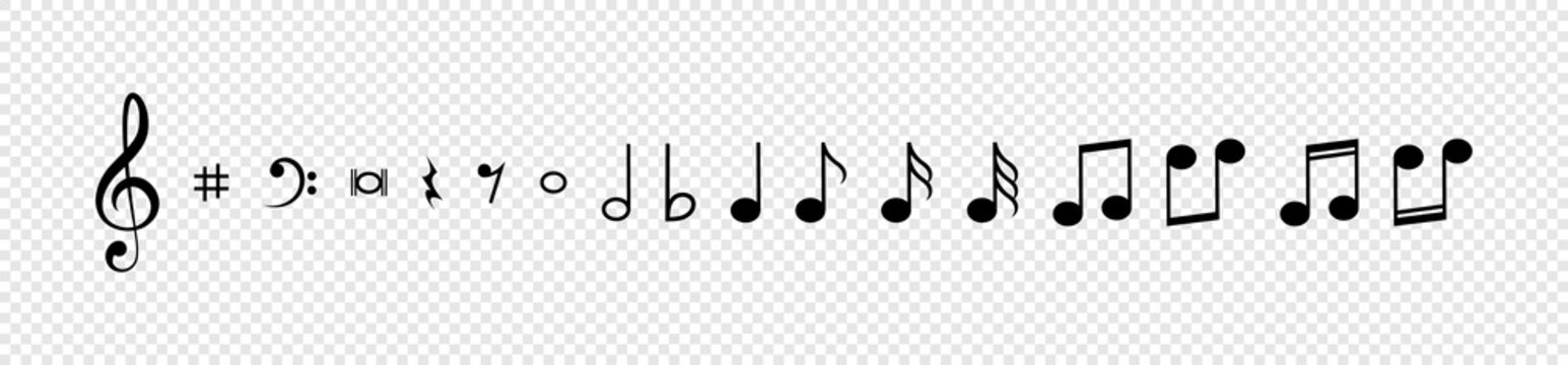 Note. Music Notes vector icons collection. Notes in a row, isolated on transparent background. Vector illustration