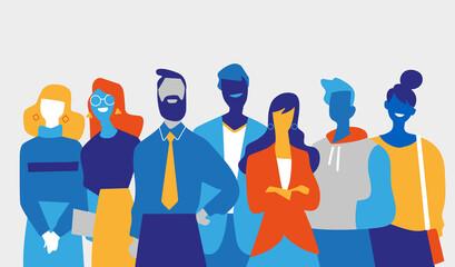 Squadra di professionisti di successo fatta di uomini e donne Wall mural