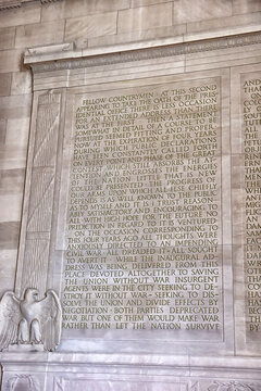 22.06.2016. WASHINGTON D.C.,USA Text of Gettysburg Address scribed on the wall at the Lincoln Memorial in Washington, DC. President Abraham Lincoln