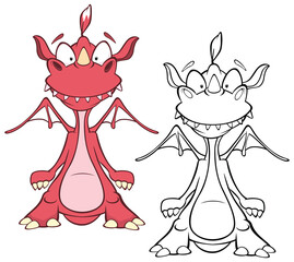 Tuinposter Babykamer Vector Illustration of a Cute Cartoon Character Dragon for you Design and Computer Game. Coloring Book Outline Set