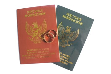 Marriage book for Indonesian, isolated on white