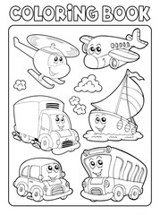 Foto op Canvas Voor kinderen Coloring book transportation thematics 1