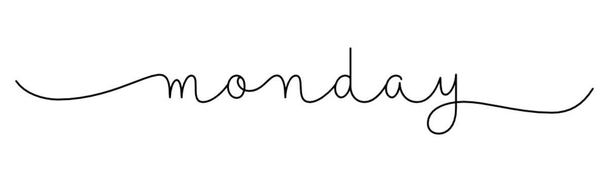 MONDAY black vector monoline calligraphy banner with swashes