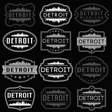 Detroit Michigan Skyline. Premium Quality Stamp Frames. Grunge Design. Icon Art Vector. Old Style Frames.
