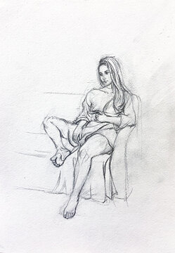 Girl pencil illustration sitting on a couch in a dress