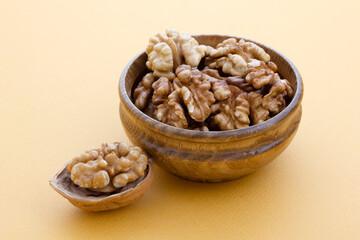 fresh and organic walnuts on plate