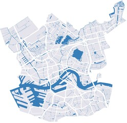 Rotterdam vector map with river and main roads