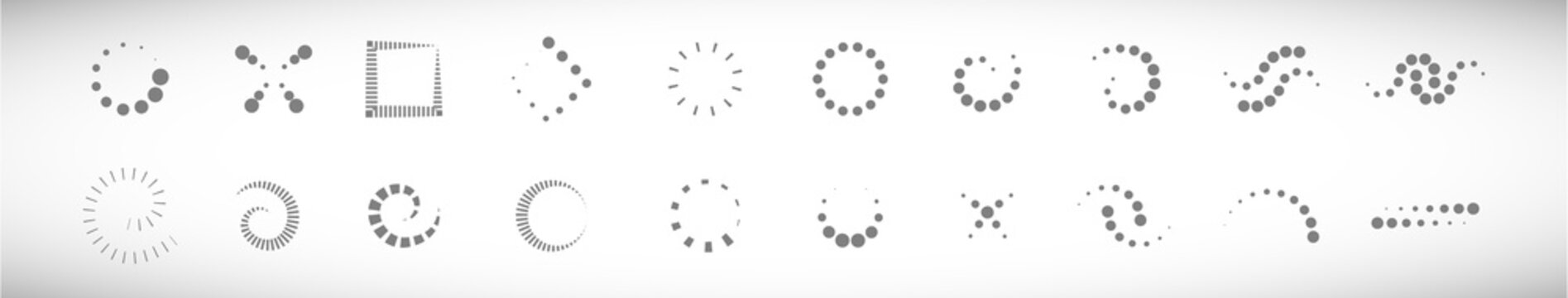 Abstract Dot Circle Icons Set. Halftone Logo Concept. Dotted Circle Isolated - Vector. Creative Icons For Dotted Logo, Tech Icon, Square Element And Logotype. Abstract Circle Dot Technology Logo