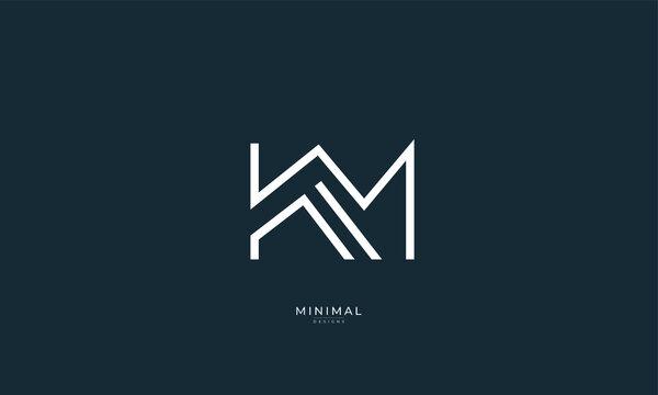 Alphabet letter icon logo KM