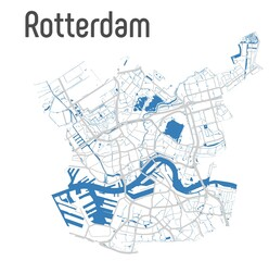 Photo sur Aluminium Rotterdam Rotterdam vector map with river and main roads